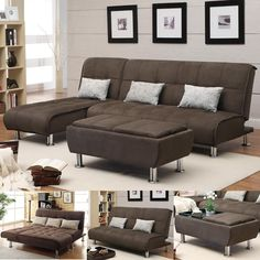BROWN Microfiber 3 PC Sectional Sofa Futon Couch Chaise Bed Sleeper Ottoman Set #ContemporaryCasualModern