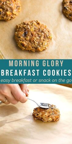These morning glory breakfast cookies are loaded with healthy ingredients including carrots, ground flax, applesauce and eggs. Perfect for back to school meal prep! #sweetpeasandsaffron #backtoschool Oatmeal Breakfast Cookies, Breakfast Cookie Recipe, Best Breakfast Recipes, Oatmeal Calories, Chocolate Chia Pudding, Homemade Granola Bars, Delicious Cookie Recipes, Meal Prep Containers, Make Ahead Meals