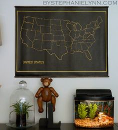 Hanging Chalkboard US Map - Playroom Wall Art Inspired by Restoration Hardware - bystephanielynn
