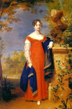 Anna Pavlovna by anonymous, ca 1800's-10's   Maria sleeves and the beginning of a less fluid classical silhouette.