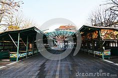The historical and famous fish market, during winter holidays, in Treviso city, in Veneto, Italy. Treviso Italy, Famous Fish, Holiday City, Arabesque, Winter Holidays, Medieval, Fair Grounds, Stock Photos, Architecture