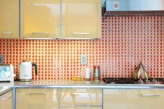 orange detailed backsplash