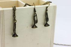 Trumpet Dangling Earrings Trumpet Necklace by boysenberryaccessory