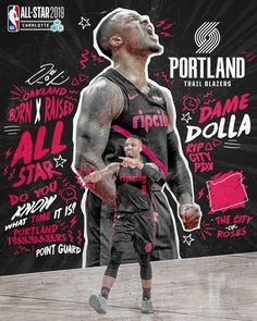 NBA All Star - Damian Lillard - Basketball - . Mvp Basketball, Basketball Design, Basketball Legends, Basketball Quotes, Football, Soccer, Damian Lillard, Nba Pictures, Basketball Pictures