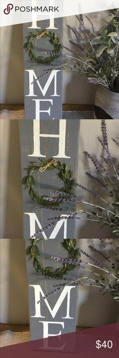 2 foot HOME Sign Rustic Farmhouse Decor Gorgeous little sign is stained gray, distressed, and sealed. It is made of 2 inch pine wood. Letters are white chalk paint. Greenery for the O. This is a handmade item. Please note that stain, wood grain, and paint will vary from piece to piece in the nature of a true hand crafted item :) Other