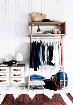 Apartment living often means sacrificing creature comforts like a built in wardrobe. Find out how to get on board with a Scandi style leaning wardrobe to keep your clothing organised and on display Walk In Wardrobe, Wardrobe Rack, Capsule Wardrobe, Boudoir, Armoire Dressing, Dressing Room, Sweet Home, Guest Bedroom Decor, Bedroom Ideas