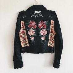 Hand-painted leather jacket by Wolf & Rosie