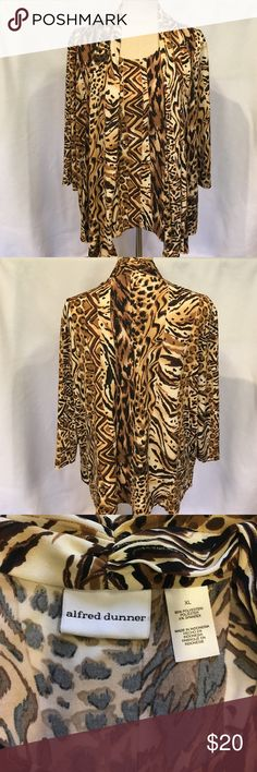 """Alfred Dunner Cardigan/Top SZ XL All that glitters is in this cardigan/top by Alfred Dunner...all one piece...animal print in black/tan/brown with shimmer gold...great evening piece...another travel   friendly piece...approximate measurements bust 24"""" length 26""""from shoulder on back, front is a little longer with cardigan...3/4 sleeves....thanks for visiting.... Alfred Dunner Tops"""