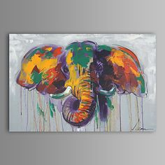 Oil Painting Modern Abstract Elephant Hand Painted Canvas with Stretched Frame 2016 - $77.13