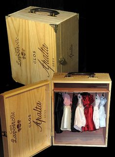 repurposed crate into doll clothes trunk