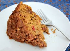 Thanksgiving in a {gluten-free} cake: pumpkin coffee cake with pecan streusel, apples, & cranberries. Get the recipe at Wooden Spoon Baking.