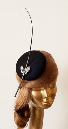 Amazing Black Fascinator Hat for Women with Brooch & Stripped Ostrich Spines .Black Felt Cocktail Hat . via Etsy