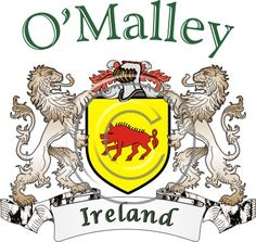 O'Malley coat of arms. Irish coat of arms for the surname O'Malley   from Ireland. View your coat of arms at http://www.theirishrose.com/#top_banner or view the O'Malley Family History page at http://www.theirishrose.com/pages.php?pageid=43
