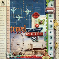 travel scrapbooking page, layout