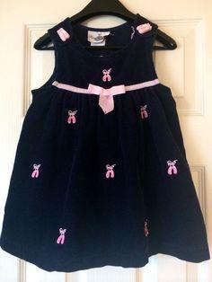 3T Toddler Girls Navy Blue 100% Cotton -Ballet Shoe Courderoy Jumper Dress  #RareEditions #Everyday