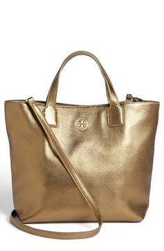 $295, Gold Leather Tote Bag: Tory Burch Emmy Crossbody Tote Gold. Sold by Nordstrom.