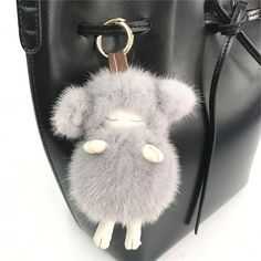 Gray -Real Mink Fur Sheep Lamb Goat Real Fur Ball Pompom Bag Charm Keychain