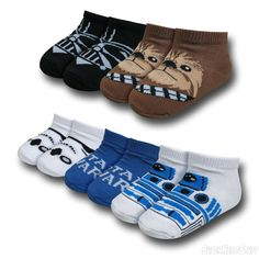Images of Star Wars Character Heads 5 Pack Toddler Socks