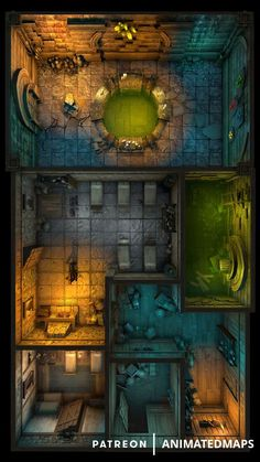 This is a collection of indoor locations that you can use separately with fog of war, or use them all together if you feel like it! Fantasy City Map, Fantasy Places, Dungeons And Dragons Homebrew, D&d Dungeons And Dragons, Dnd World Map, Map Games, Rpg Map, Dnd Dragons, Modernisme