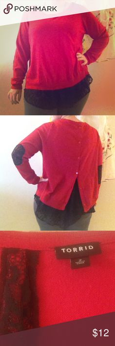 Torrid size 2XL Red Sweater Black Lace Accents Sexy Red Sweater from Torrid 2XL. Black lace accents on the bottom of sweater and elbows. Back buttons up. Very comfortable. Gently worn, no signs of wear. I am 5'1 so the sleeves were a little long on me but will work on someone a little taller. Perfect sweater for fall and winter. torrid Sweaters Crew & Scoop Necks
