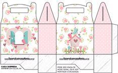 Caixa Lembrancinha Jardim Encantado Provençal totalmente grátis, pronto para personalizar e imprimir em casa. Box Templates Printable Free, Diy And Crafts, Paper Crafts, Bird Party, Packing Boxes, Party In A Box, Preschool Crafts, Cute Stickers, Printables