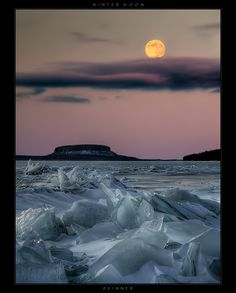✯ Winter Moon ... The translucent icepack and Pie Island in Thunder Bay, Lake Superior .. by *Wb-skinner*✯