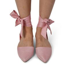 Women's Almond Toe Wrap Up Satin Ribbon Tie Lace Up D'orsay Flats Shoes by LUSTHAVE Mauve 10
