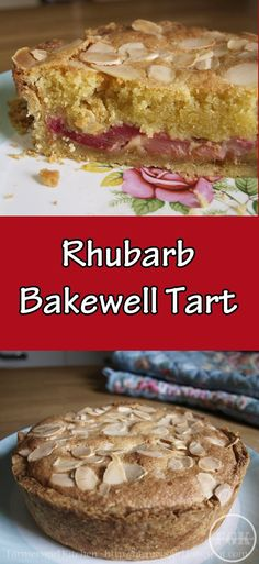 A delicious Rhubarb Bakewell Tart,, a crisp pastry shell filled with roasted rhubarb and almond frangipane