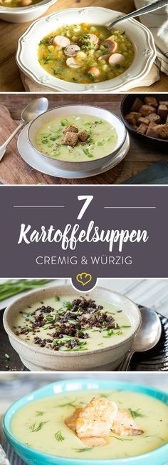 14 köstliche Kartoffelsuppen – von cremig bis deftig Hearty with Bockwurst, Caribbean with coconut or light and creamy with salmon – we have 7 new favorite recipes. Potato soups for every day of the week! Best Potato Soup, Slow Cooker Potato Soup, Creamy Potato Soup, Soup Recipes, Healthy Recipes, Soup Kitchen, Soup And Sandwich, Eat Smart, Soups And Stews