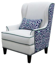 Chelsea Home Furniture - Chelsea Home Chair in Heavenly Oyster - New Damask Marine with Kidney Pillows - Logan Wing chair in Heavenly Oyster - New Damask Marine with Kidney Pillow belongs to the Chelsea Home Furniture collection Funky Furniture, White Furniture, Accent Furniture, Furniture Decor, Upholstery Trim, Upholstery Cleaning, Wing Chair, Upholstered Chairs, Wingback Chairs