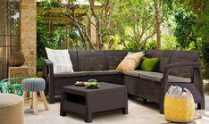 Buy Allibert Bahamas 5 Seat Corner Lounge Set - Graphite from our All Garden Furniture range - Tesco Garden Table And Chairs, Table And Chair Sets, Garden Furniture, Outdoor Furniture Sets, Corner Sofa Set, Outdoor Sofa, Outdoor Decor, Relax, Home And Garden