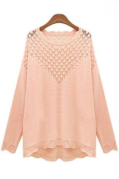 Cheap New Style O Neck Long Sleeves Hollow-out Pink Regular Knitting Pullover Sweater