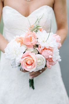 White and blush bouquet. Photography : Karyn Johnson Photography Read More on SMP: http://www.stylemepretty.com/virginia-weddings/bedford-virginia/2016/08/16/classic-rustic-state-park-wedding-in-the-fog/