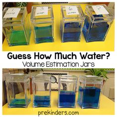 """""""Guess How Much Water?"""" Estimation Jars (from PreKinders)"""