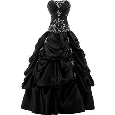 Sunvary Ball Gown Strapless Appliqued Ruffle Long Prom Gowns... ($170) ❤ liked on Polyvore featuring dresses, gowns, long dresses, black, vestidos, long prom dresses, women dresses, quinceanera gowns, evening dresses and evening gowns