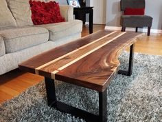 Beautiful slab of walnut with a center walnut section added flanked by highly figured maple. Bloodwood butterfly keys on either side add a classy t. Folding Coffee Table, Coffee Table Design, Reclaimed Wood Coffee Table, Walnut Coffee Table, Live Edge Furniture, Unique Furniture, Table Furniture, Furniture Ideas, Live Edge Table