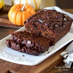 Moist Chocolate Pumpkin Breadrecipe with melty chocolate chunks, a super soft texture, and a fall inspired pumpkin and cinnamon flavor. Easy-Healthy-Yummy!