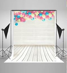 5x7ft Wedding Photography Backdrops no Crease Balloon Wood Wall and Floor Background