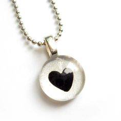 Black and silver heart valentine pendant  hand painted par azurine, $20.00