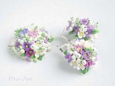 Купить Серьги и кулон Нежная весна - керамическая флористика, искусственные цветы, украшения с цветами