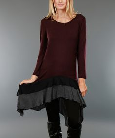 Simply Aster Burgundy & Black Ruffle-Hem Shift Dress - Plus Black Ruffle, Aster, Refashion, Black Stripes, That Look, Burgundy, Bell Sleeve Top, Tunic, Plus Size