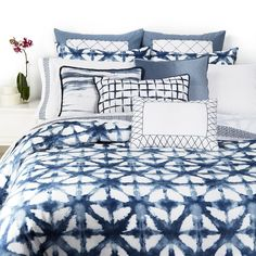 Shibori bedding by Vera Wang; would fit my beach-themed home perfectly. Incredible blue.