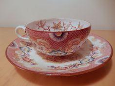 Tasse moyenne porcelaine Sarreguemines XIX décor Minton 216 rose 19 siecle