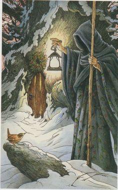 """The Hooded Man (The Hermit) - Deer Illustrations are from the """"Wildwood Tarot"""" Illustrator Will Worthington, and Mark Ryan, John Matthews (Authors). Art And Illustration, Wildwood Tarot, Tarot Cards Major Arcana, The Hermit Tarot, Tarot Astrology, Pagan Art, Tarot Decks, Occult, Star Wars"""