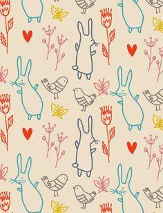 "Little Cube ""Summer Rabbits"" wallpaper. Illustration © 2012 Sarah Betz"