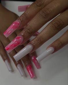 Acrylic Nails Coffin Pink, Short Square Acrylic Nails, Drip Nails, Glow Nails, Acylic Nails, Cute Acrylic Nail Designs, Funky Nails, Bling Nails, Swag Nails