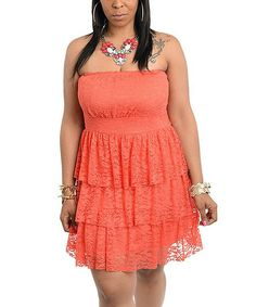 Coral Lace Ruffle Strapless Dress - Plus