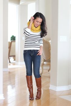 Striped sweater and cable knit scarf with cognac boots.  StylishPetite.com