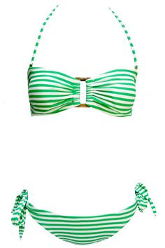 Green and white striped bandeau bikini with strap from Soak Swimwear