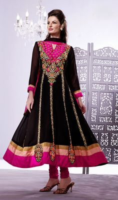 Magenta and Black Embroidered Georgette Anarkali Suit #Indiandresses #Partywear-SalwarSuit